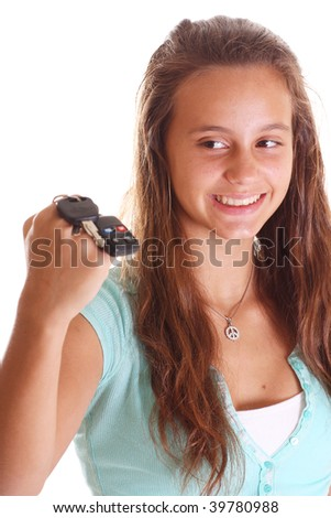 teen looking at keys isolated on white