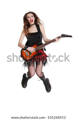 Teen rock star girl with guitar