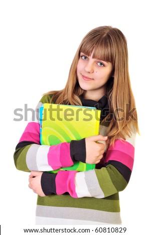teen school girl holding books over the white