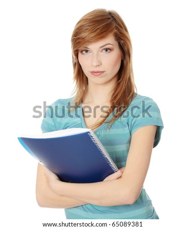 Teen student girl isolated on white background