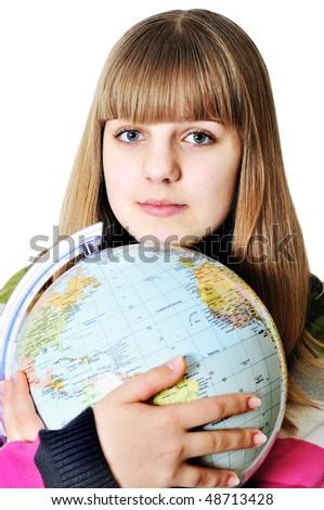 stock photo : teen sweet girl hugging globe of the world