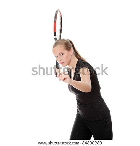 Teen tennis player, isolated on white