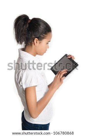Teen with tablet pc, Isolated on white background