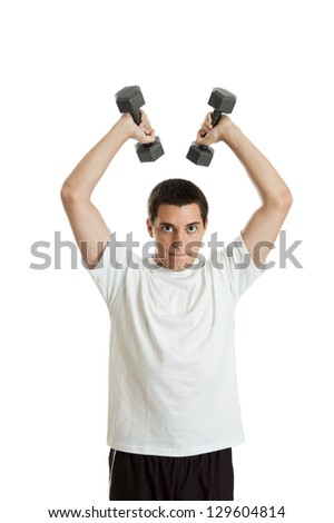 Teenage athletic boy lifting free weights isolated on a white background - stock photo