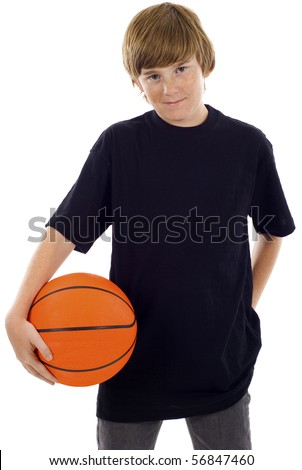 Teenage boy holding a basketball isolated over white background