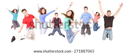 teenage boy jumping isolated in white #271887065