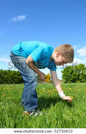 teenage boy picking flowers
