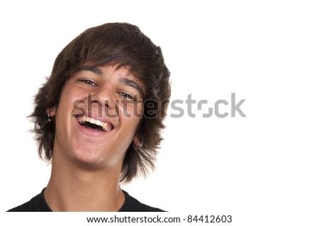 teenage boy smiling on white background