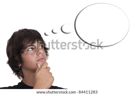 teenage boy thinking isolated on white background
