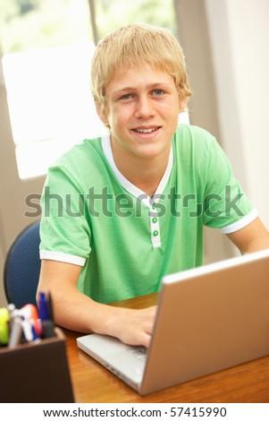 Teenage Boy Using Laptop At Home