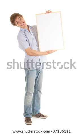 teenage boy with blank sign, white background