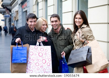 teenage friends in shopping