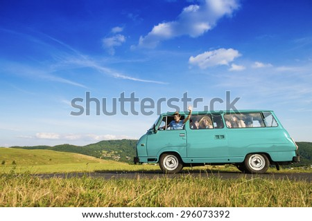 Teenage friends on a road trip on a summers day  #296073392