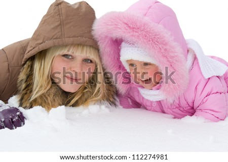 Teenage girl and  little girl in the snow