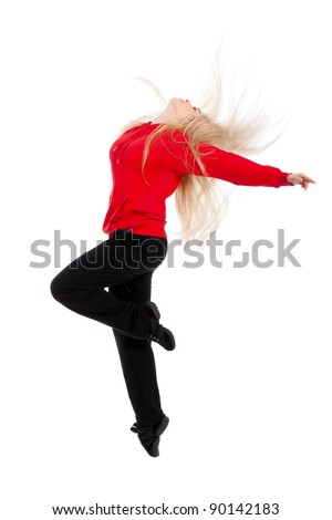 Teenage girl dancing hip-hop, modern dance, break dancing, wearing red and black sportswear clothing, studio series, isolated over white background.