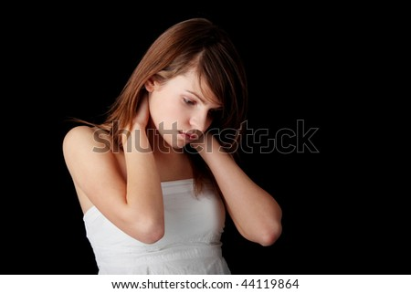 stock photo teenage girl depression lost love teen problems isolated on black background 44119864 Celebrity sex videos with hot babe Leighton Meester, she has had many roles ...