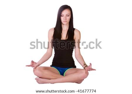 Teenage Girl doing Yoga - stock photo