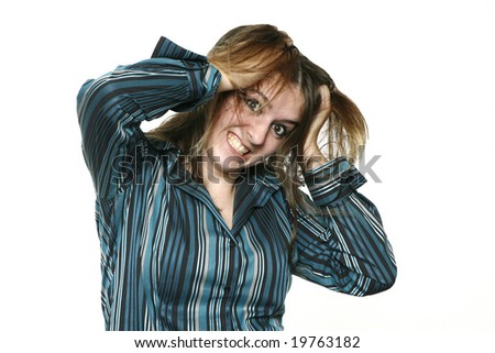 Teenage Girl Frustrated, isolated on a white background.