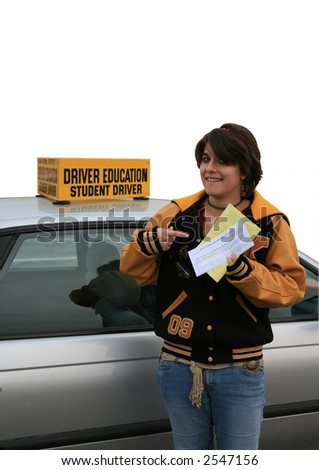 Teenage girl gets driving permit