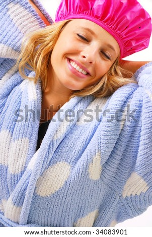 Teenage girl getting ready to take morning shower