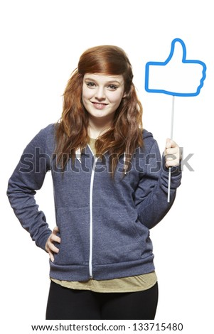 Teenage girl holding a social media sign smiling on white background