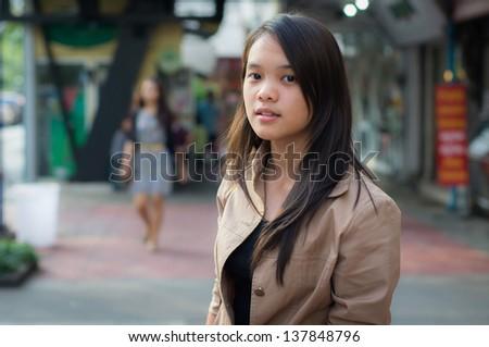 Teenage girl in downtown