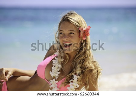 stock photo teenage girl in pink bikini at the beach in hawaii 62660344 Gay Gang Bus Japan