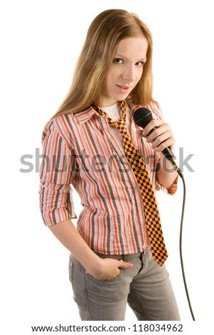 Teenage girl in striped shirt with microphone, isolated on white background