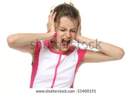 Teenage girl in very bad mood - hysterics. Portrait on white background