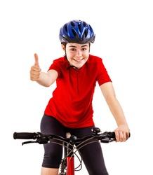 Teenage girl on bike isolated on white background