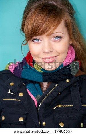 Teenage girl portrait, exterior in urban location - stock photo