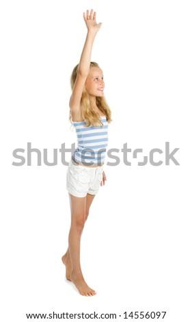 Teenage girl say hello and hand up