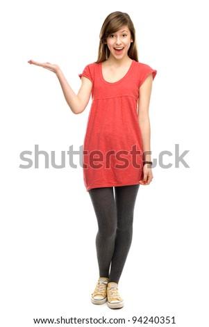 Teenage girl showing something