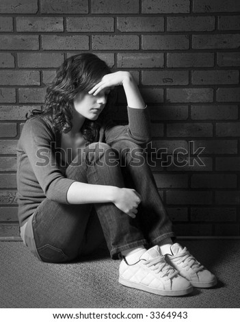 depressed emo girl. stock photo : Teenage girl
