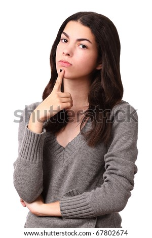 teenage girl thinking