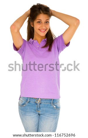 teenage girl with hands on head