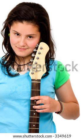 teenage girl with her electric guitar - isolated over a white background