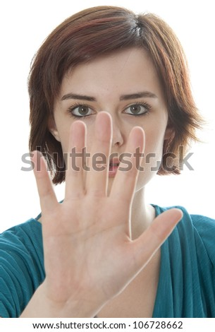 teenage girl with no gesture - white background