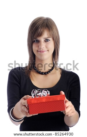 teenage girl with red gift box. isolated on white
