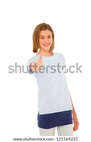 teenage girl with thumb up