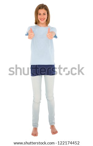 teenage girl with thumbs up