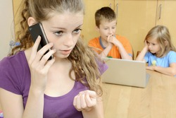Teenage girl works as babysitter neglects children while she talks on phone