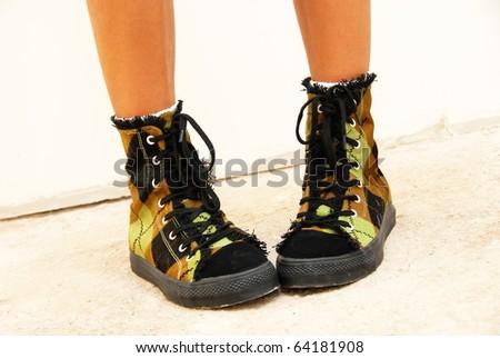 teenage girls feet in fancy shoes closeup