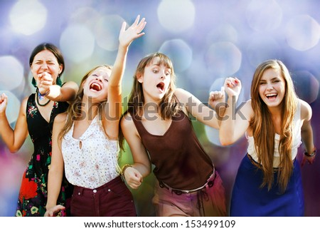 Teenage girls having fun at the party