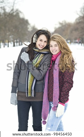 Teenage girls having good time at the park