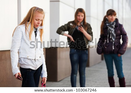 Teenage girls on a city street