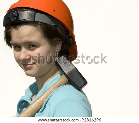 Teenage holding a hammer