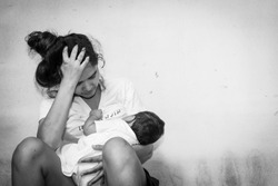 Teenage problem concept,Social problem,Teen women stress ,Teen have baby, black and white tone