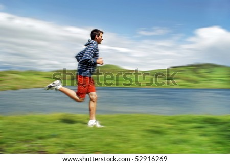 Teenage running in nature