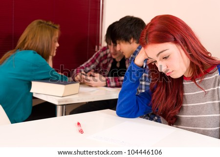 Teenage student not being accepted in the group of her classmates